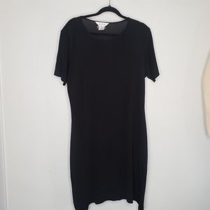 EXCLUSIVELY MISOOK BLACK KNIT DRESS SHORT SLEEVE